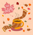 hand drawn coffee cup with scarf and fall leaves vector image