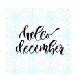 hand drawn lettering hello december modern vector image vector image