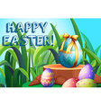 Happy Easter with decorated eggs in the garden vector image vector image