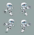 heroic pose robot technology set vector image vector image