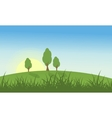Hill with grass and tree landscape vector image vector image