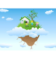 house on floating island vector image