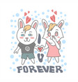 i love u forever rabbit vector image vector image