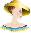 Lady in yellow hat and dress with ruches vector image vector image