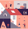 life scenes - flat design style vector image