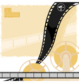 light background with a reel of film movie camera vector image
