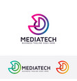 media technology logo design vector image vector image