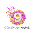 number nine logo red particles and bubble dots vector image vector image