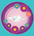 origami rat with flowers vector image