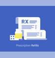 pharmacy concept rx form and pills vector image vector image