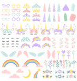 pony unicorn face elements pretty hairstyle vector image