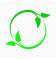 recycle icon green leaf arrow circle bio garbage vector image vector image