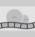 round photoframes with film strip for family album vector image