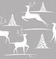 seamless christmas pattern - deers and trees with vector image vector image
