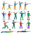 Shooting sport icons set cartoon style