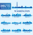 silhouettes cities of usa set 2 on blue background vector image vector image