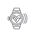 smart watch with pulse line icon concept smart vector image