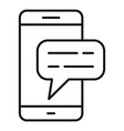 smartphone chat icon outline style vector image vector image