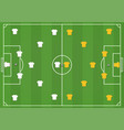 soccer field with players mock from top vector image vector image