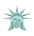 statue of liberty winks emoji us landmark statue vector image vector image