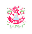 thank you so much logo design holiday card vector image vector image