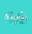 thin line flat design banner of learning web page vector image vector image