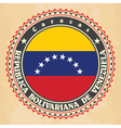 Vintage label cards of Venezuela flag vector image vector image