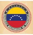 Vintage label cards of Venezuela flag vector image