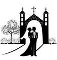 wedding silhouette 9 vector image vector image