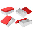 white box with red lid set gift boxes vector image