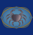 zodiac sign cancer crab inside in an ornamental vector image vector image