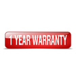 1 year warranty red square 3d realistic isolated vector image vector image