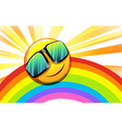 A rainbow with a smiling sun vector image vector image