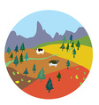 Autumn landscape for mountain farm vector image vector image