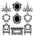 baroque furniture rich set collection vector image vector image