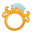 baroque style gold ring engagement jewelry diamond vector image