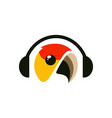 bird music listen headset headphone logo icon vector image