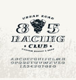 bulk italic serif font and racing club emblem vector image vector image