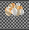 bunch of golden helium balloons isolated on vector image