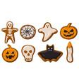 cartoon halloween gingerbread cookies vector image
