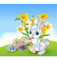 Cartoon happy bunny with colourful Easter eggs vector image vector image