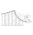 cartoon of businessman slipping or sliding down vector image vector image