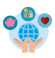 charity donation set icons vector image