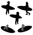 child silhouette with surfboard in black vector image vector image