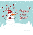 Christmas decoration with snowman and hearts vector image vector image