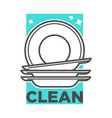 cleaning service washing dishes or dishwashing vector image vector image