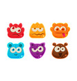 cute funny colorful jelly animal faces set user vector image vector image