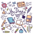 Diary Writing Instrument Set vector image vector image