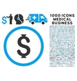 Dollar Icon with 1000 Medical Business Pictograms vector image vector image