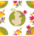 easter bunny and tulip spring holiday seamless vector image vector image
